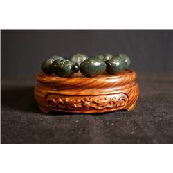 "Grade-A Hetian Black Jade Carved ""Buddha"" Bead Bracelet. Condition as is, shown in photos."