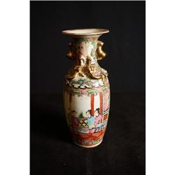 "Early 20th Century Guangcai Two-Ear ""Figure and Story"" Vase,Small Crack. Condition as is, shown in p"