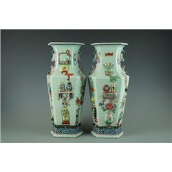 "A Pair of Early 20th Century ""Da Qing Qian Long Nian Zhi"" Mark Celadon-Glazed High-Relief Famille-Ro"