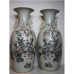 "A Pair of Republican Era Famille-Rose ""Shi Er Jin Chai"" Figures Vase(Jia Zhuang Ping). Condition as"