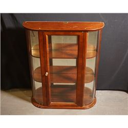 A Semicircle Wood and Glass Cabinet. Condition as is, shown in photos.