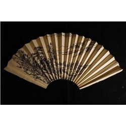 Folding Fan with Landscape Painting, Signed Wang, Yingnian. Wang, Yingnina: Chinese Famous Painter.