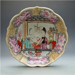 "A Famille - Rose""Flowers and Figures"" Circular Dish, Small Abrasion, Qing ""Qianlong"" Export; Conditi"