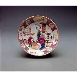 "A Fine Famille - Rose"" Flowers and Figures"" Dish, Qing ""Qianlong"" Export; Condition as is, shown in"