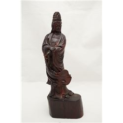 Rosewood Carved Avalokitesvara Statue, Parts Repaired. Condition as is, shown in photos.