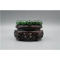 Russian Jade Bead Bracelet. Condition as is, shown in photos.