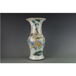 "Middle 20th Century Export ""Boys"" Vase(Deng Long Ping). Condition as is, shown in photos."
