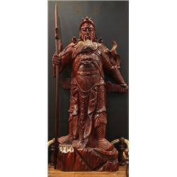 "Rosewood ""Guan Gong"" Statue. Condition as is, shown in photos."