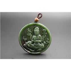 """Avalokitesvara"" Jade Pendant. Condition as is, shown in photos"