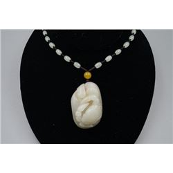 "Natural Grade-A ""He Tian"" Celadon Jade Pebble ""Crab""(Fa Heng Cai) Pendant. Condition as is, shown in"