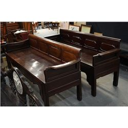 A Pair of Two Early Republican Era Rosewood Daybeds(Ta). Condition as is, shown in photos