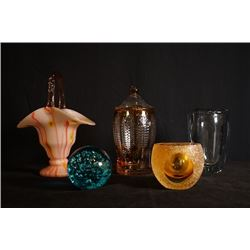 One Piece of Crystal Ball, Two Pieces of Colour-Glazed Decorations, Two Pieces of Colour-Glazed Glas
