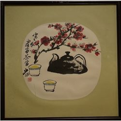 Bao Cheng - Tea Chinese Classical Painting. ink and color on paper, mounted for framing. Bao Cheng,