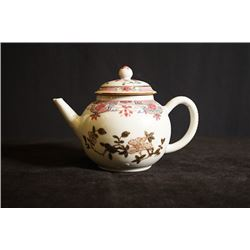 A small famille-rose gilt-decorated teapot, repaired on cover, small crack. Condition as is, shown i