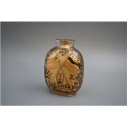"Early Republic of China, an inside-painted glass ""Yuan Shikai and flag"" snuff bottle, cover lose.  C"