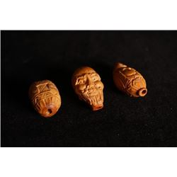 Olive-stone carved 3 beads. Condition as is, shown in photo