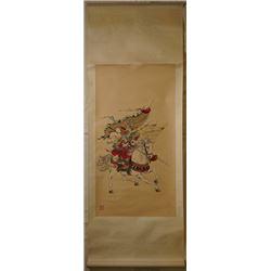 "A meticulous painting ""Hua Mu Lan Chu Zheng"", ink and color on paper, hanging scroll. Tan Huansen, a"