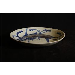 """Min"" Kiln Blue-and-White and Underglazed-Red ""Fish"" Plate. Condition as is, shown in photo. Conditi"