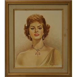 Portrait of Sophia Loren,1960, Artist: Ann Maria. Condition as is, shown in photos.