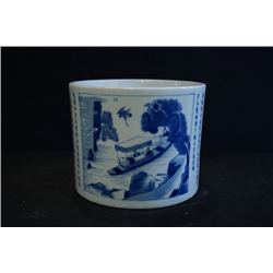 """A Large """"Landscape and Poem"""" Brush Pot. Condition as is, shown in photos."""