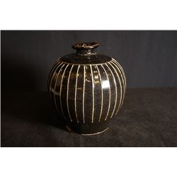 """Yuan Dynasty """"Cizhou"""" Kiln Jar with Line Shape on Body. Condition as is, shown in photos."""