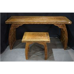 A Wenge Wood Chinese Zheng Table with a Wenge Wood Stool. Condition as is, shown in photos.