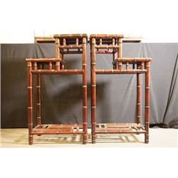 "A Pair of Early 20th Century Rosewood ""Bamboo Pattern"" Pergola. Condition as is, shown in photos."