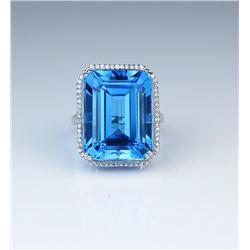 18CAI-54 SWISS BLUE TOPAZ & DIAMOND RING
