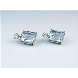 18CAI-15 AQUAMARINE & DIAMOND EARRINGS