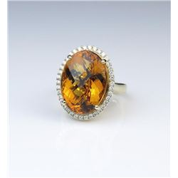 18CAI-18 CITRINE & DIAMOND RING