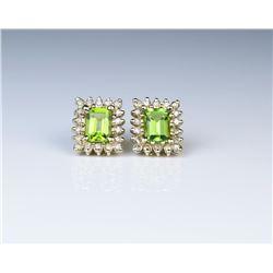 18CAI-52 PERIDOT & DIAMOND EARRINGS