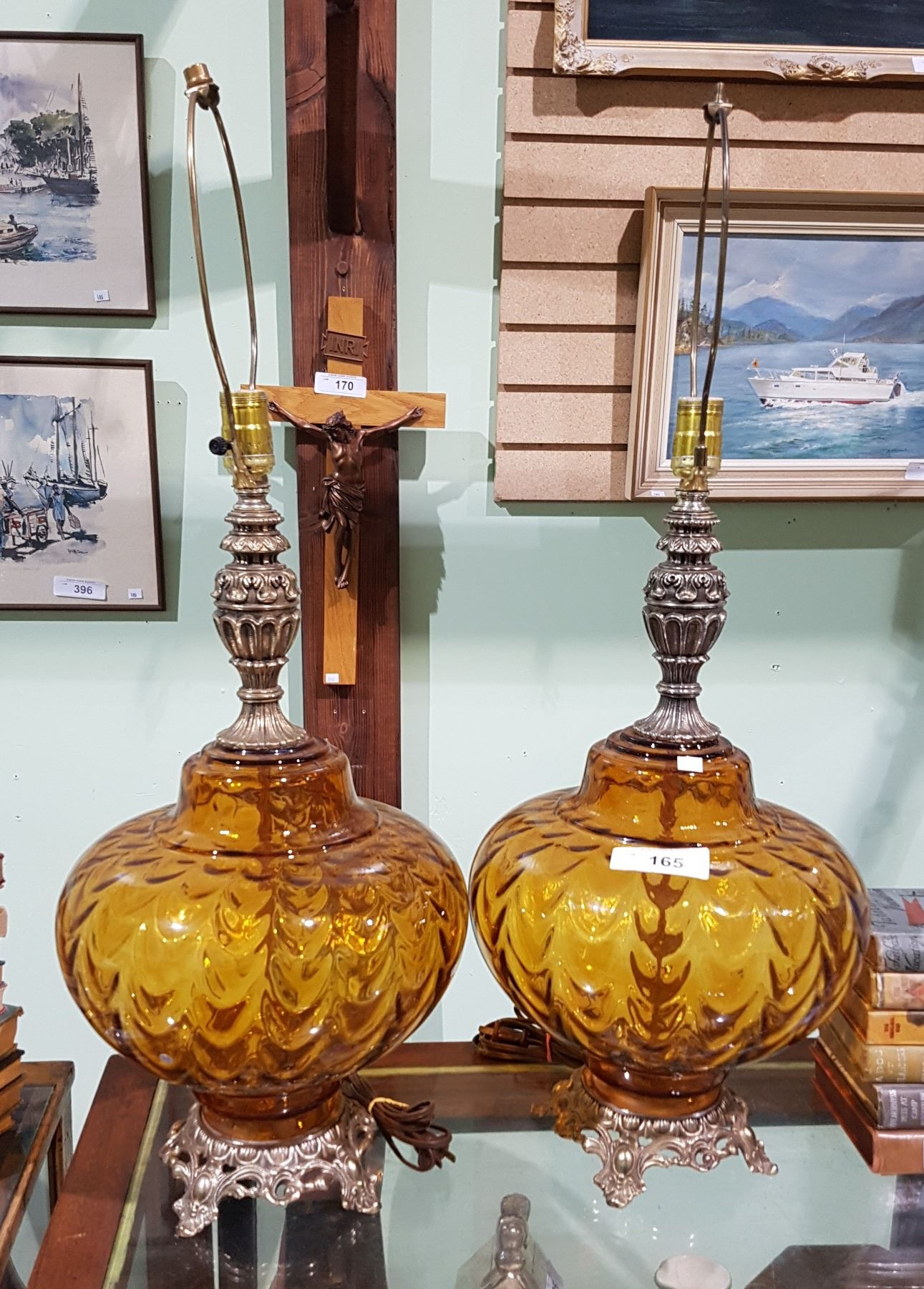 Pair Vintage Amber Glass Brass Table Lamps