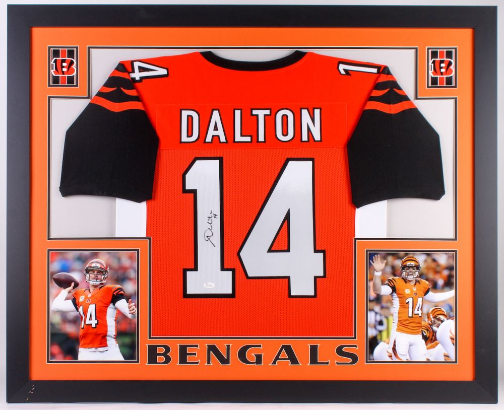 Andy Dalton Signed Bengals 35.5x43.5 Custom Framed Jersey ...