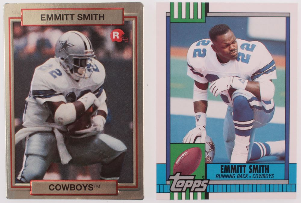 Lot Of 2 Emmitt Smith Topps Football Cards With 1990 Action
