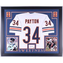 77f96e2c5 Walter Payton Signed Bears 35x43 Custom Framed Display with Jersey Signed  Index Card (Payton COA