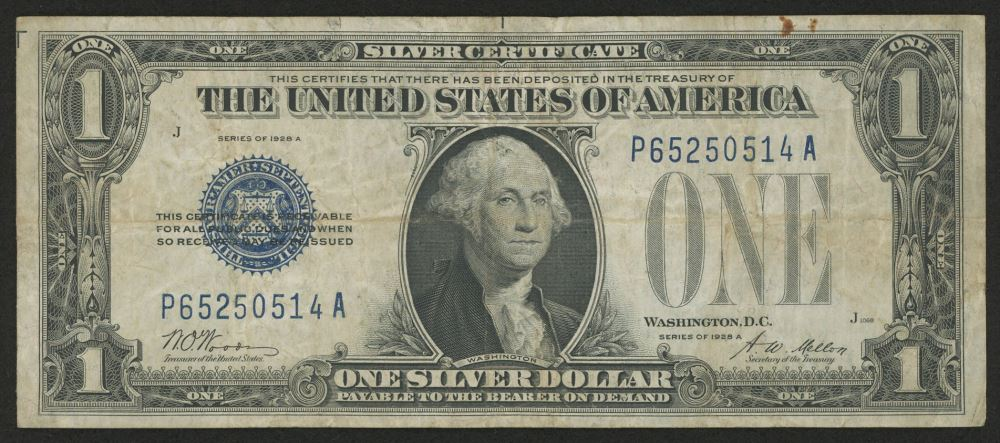 $1 1928 FUNNYBACK ONE DOLLAR SILVER CERTIFICATE BILL USA Currency NOTE MONEY