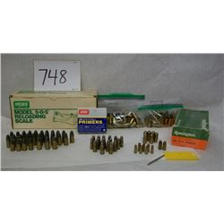 BOX LOT OF AMMO AND RELOADING