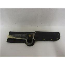 CUSTOM DROP POINT SKINING KNIFE WITH BONE HILT