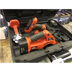 BLACK AND DECKER SKIL SAW, DRILL, LIGHT CHARGER AND TOOL SET, WITH CASE