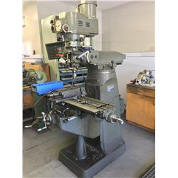 MICROCUT MODEL LC 1 1/2 VS, 3 HP VERTICAL MILLING MACHINE, WITH 9'' X 48'' T-SLOT TABLE, MACHINE