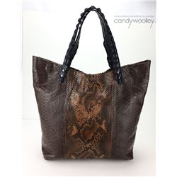 LARGE ITALIAN LEATHER TRAVEL BAG  WITH PYTHON AND CROCODILE STRAP