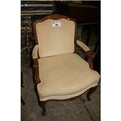BEIGE CUSHIONED WOODEN ARM CHAIR