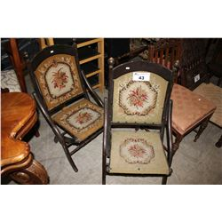 PAIR OF FOLDING TAPESTRY CHAIRS
