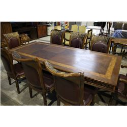 APPROX. 8 FT CARVED DINING TABLE WITH EIGHT CHAIRS