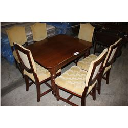 ROLLING DINING TABLE WITH SIX PADDED CHAIRS