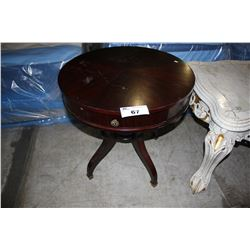 ROUND DARK WOOD ACCENT TABLE WITH DRAWER