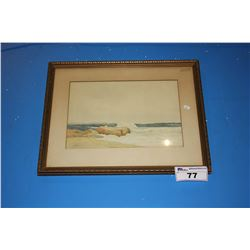 FRAMED ARTWORK SIGNED S.W.B. - TIDE COMING IN