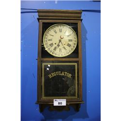 ANTIQUE REGULATOR WALL CLOCK WITH PENDULUM