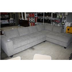 BRAND NEW MODERN LARGE GREY FABRIC SECTIONAL SOFA