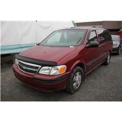 2005 CHEVROLET VENTURE, RED, 4 DRSW, GAS, AUTOMATIC, VIN#1GNDV03E05D127770, 159,931KMS,